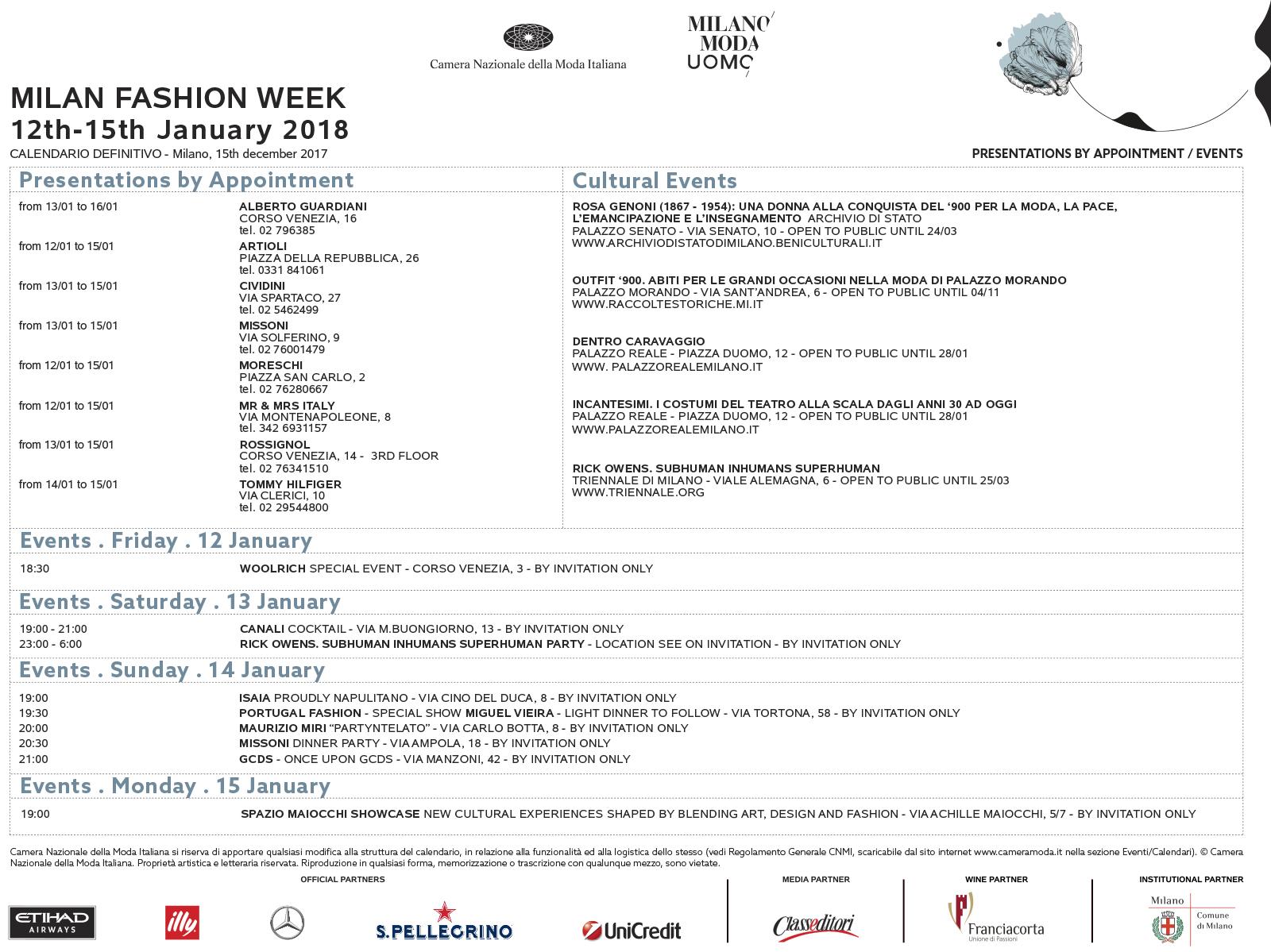 Camera Moda Calendario.Il Calendario Milano Moda Uomo Dal 12 Al 15 Gennaio 2018