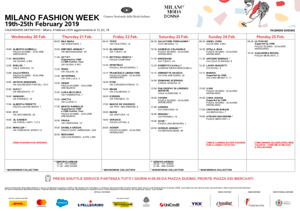 Calendario Milano.Milano Fashion Week 2019 Torna Lo Stile Nel Capoluogo